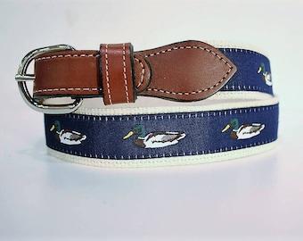 Mallard Duckl  men's Web Leather Belt