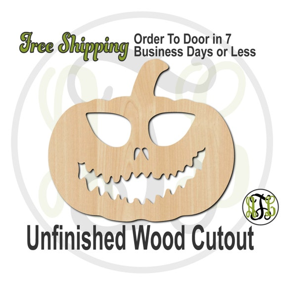 Pumpkin 7- 160029- Halloween Cutout, unfinished, wood cutout, wood craft, laser cut shape, wood cut out, Door Hanger, Jack O Lantern, wooden