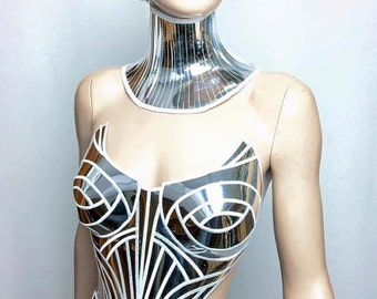 chrome metropolis corset sci fi costume metal corset  burlesque fetish cyberpunk futuristic clothing divamp couture  goddess burningman