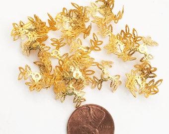 50 pièces d'or plaqué bead caps, plaqué or trois coupelles de pétales, bonnet de perle filigrane plaqué or 13mm
