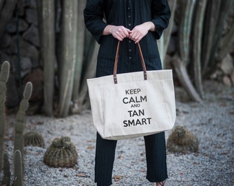 Keep Calm and Than Smart, Shopper Bag With Zip, Lady Tote Bag, Linen Market Bag, Tote Bag With Zip, Linen Market Tote, Linen Shopping Bag