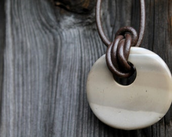 Striped Flint Pendant Donut Leather necklace Natural Raw Organic Jewelry Rustic Gray Grey Silver Earthy Cream Banded Flint Neolithic