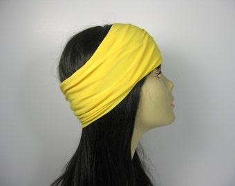 Yellow Head Wrap Yellow Hair Wrap Lycra Head Wrap Yoga Head Wrap Yoga Headband Boho Head Wrap Boho Headband Hippie Head Wrap Lycra Headband