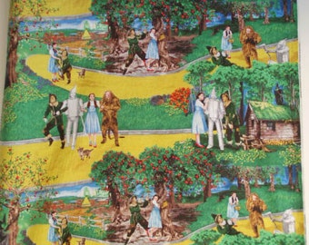 bty ~ WIZARD OF OZ ~ scenic yellow brick road fabric quilting treasures
