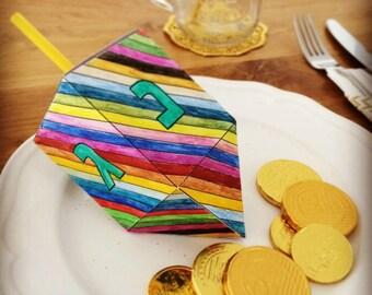 Hanukkah Dreidel Paper Craft for kids, printable Dreidel template to creat 3D Paper Dreidel toys, Instant download file, stripes, english.