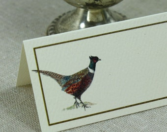 Placecards for Your Table, Set of 12. Watercolor Pheasant Design with Chocolate Brown Border. On Kraft or Natural Card