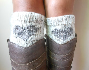 Valentines Day Gift Hand Knitted Boot Cuffs Leg Warmers With Heart Cream and Beige Tweed