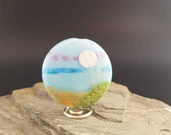 Lampwork Glass Focal Bead - handmade - Scenery Bead Seaside