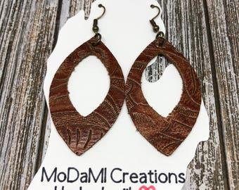 Leather earrings, saddle brown, marquise, tooled leather, handmade earrings, nickle free, drop earrings, dangle earrings, lightweight