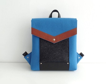 Blue Black Brown Felt Leather Backpack