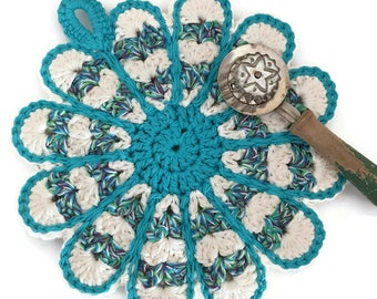 Blue Crochet Flower Potholder,Made From Vintage Style Pattern,Blue,Green,Purple, and White,Kitchen Decor,Hot Pad,Handmade Cotton Hot pad