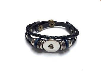 Black Leather SNAP Bracelet - 18mm - 20mm - Leather Snap Bracelet - Snap Jewelry