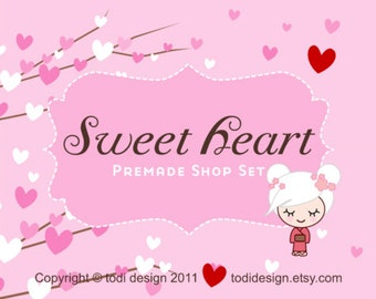Sweet Heart - Premade banner set for your Etsy Shop