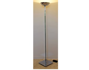 Contemporary Modernist Torchiere Glass Chrome Aluminum Floor Lamp