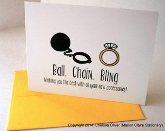 Carte de mariage ou fiançailles drôle - boule, chaine, Bling