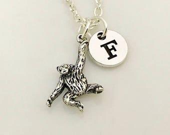 Chimpanzee necklace, Monkey Necklace gift, Monkey jewelry, Monkey Necklace, Monkey Pendent, Silver necklace, personalised gift