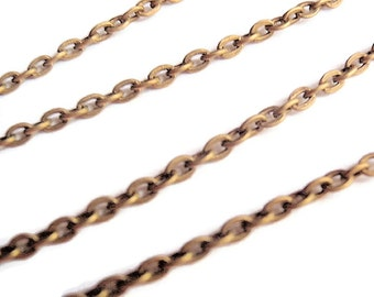 10 Ft Very Small Cross Chain, Antique Bronze, Jewelry making & Craft supply, 3 mm X 2 mm X .6 mm thick