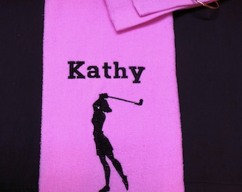 Womens Golf towel tri fold with hook and grommet personalized embroidered 6 colors to choose from.