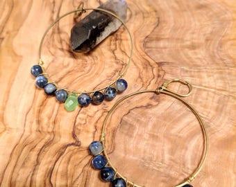 Sodalite and Jade Hoop Earrings
