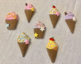 Flat back ice-cream and cup cake polymer clay embellishments, cabochon