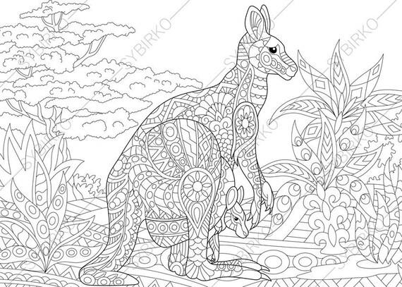 Australian Kangaroo Wallaby Family 2 Coloring Pages Animal