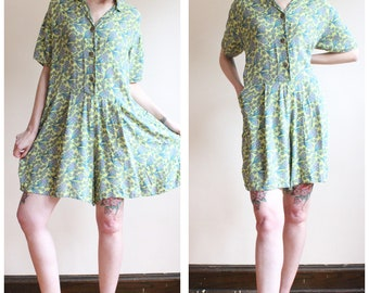 1990s FLAX Romper // Tropic Flax Romper // vintage 40s style 90s playsuit