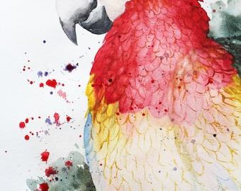 Sale Original Watercolor Painting, Parrot macaw art, big bird, wild bird, Home decor, red parrot, Red Bird, Art Parrot, pet gift OOAK