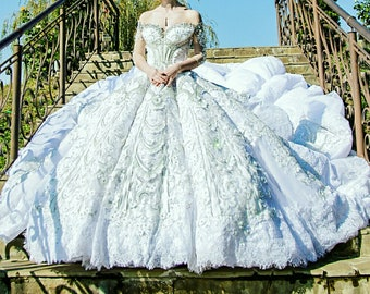Luxury Royal Cathedral train beaded Couture  wedding dress