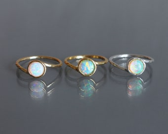 Fire Opal Rings. Opal ring. Mothers day gift. dainty stack jewelry. White Opal Ring. stack Opal ring. Gold opal ring. Promise ring opal