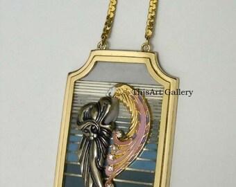 Erte Beauty Of The Beast Pendant Necklace First State 14k Diamond