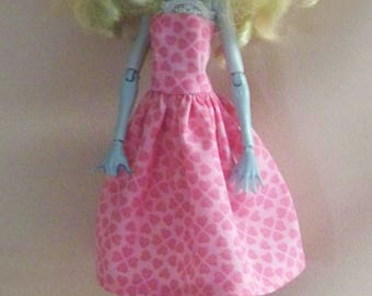 Handmade Monster High Doll Clothes-Pink with Hearts Cotton Print Monster High Dress