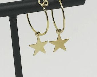 Pierced ears TINA star rings gold plated hoop earrings