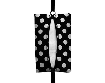Auto Sneeze - Mini Polka Dot - Visor Tissue Case/Cozy - Car Accessory Automobile Polkadot Black White