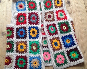 Authentic hippie crocheted granny square vest