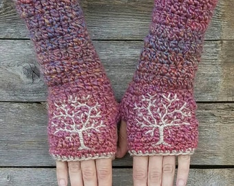 Fingerless Gloves with Tree of Life, Tree Armwarmers, Women's Gloves, Pink fingerless gloves, Women's Armwarmers Warm - MADE TO ORDER