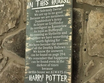 Harry Potter In This House Sign Ron, Hermione, Dumbledore, Hogwarts, Slytherin, Gryffindor, Hufflepuff, Ravenclaw, class, classroom