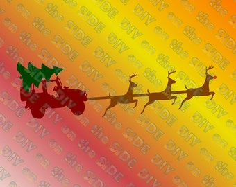 SVG Cut File Christmas Jeep Reindeer Sleigh Instant Download Raindeer