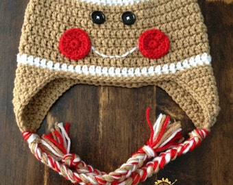 Gingerbread Man Earflap Hat-Sizes newborn to adult