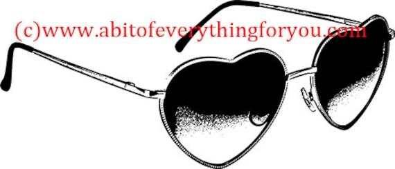 heart shaped sunglasses clipart png jpg Digital Download printable art Image graphics fashion art digital stamp