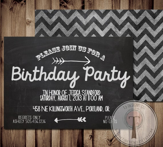 Chalkboard birthday invitation birthday invitation elegant like this item filmwisefo Choice Image