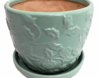 "Mint Green Floral Planter with Attached Saucer - 6"" x 5"""