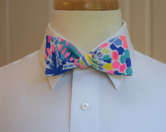 Men's Bow Tie, Dancing on the Deck blue/pink multi bright Lilly 2018 print, groom/groomsmen bow tie, Kentucky Derby bow tie, prom bow tie