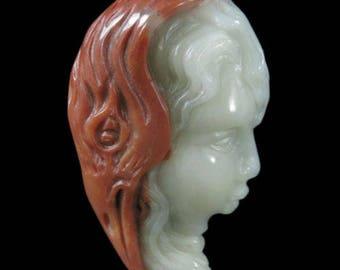 Carved Goddess Woman Portrait Multi Color Agate Pendant
