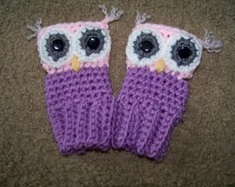 Crocheted Owl Fingerless Gloves