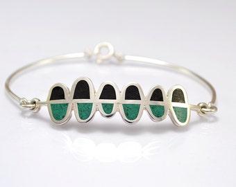 Sterling Silver Bracelet, Black and Green Ferns, Contemporary, Modern Design