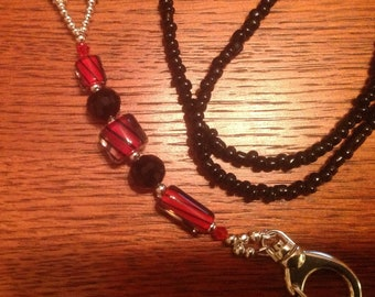 Lanyard black, silver, clear crystal beads, black red furnace beads