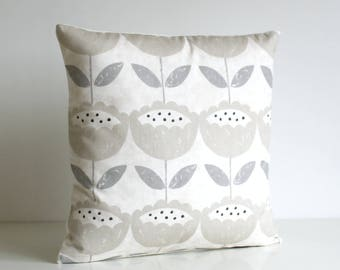 Flower Pillow Cover, Floral Cushion Cover, Flower Pillow Sham, pillow cover, decorative pillow cover - Brush Flowers Neutral