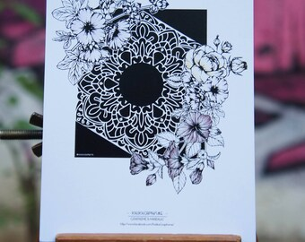 Geometric flowers postcard & Mandalas