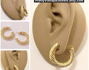 Monet Twisted Ribbed Hoops Pierced Post Earrings Gold Tone Vintage Pinpoint Smooth Strands Thick Open Ring Dangles
