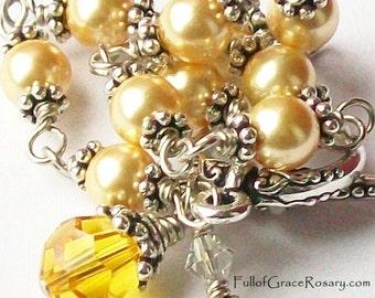Unbreakable Rosary Bracelet Yelllow Gold Swarovski Pearl & Crystal Catholic